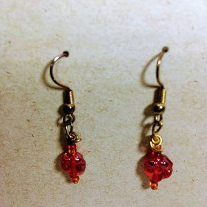 Vintage Red Drop Pierced Earrings